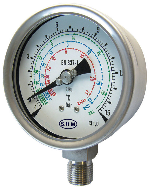 Refrigeration Liquid Filled Manometer Pressure Gauge With Polycarbonate Window