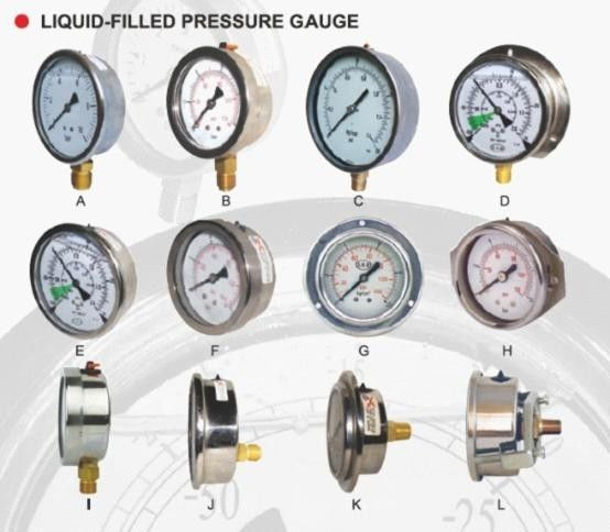 "4"" 6"" Fixed Pointer Liquid-Filled Pressure Gauge safety glass Window"